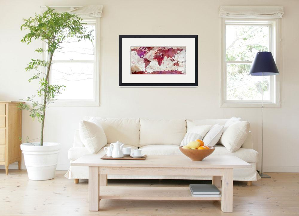 """World Map Watercolor-5&quot  by WrightFineArt"