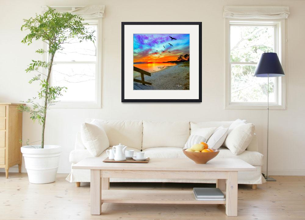 """Birds Soaring Orange Sunset Reflection-Sandy Shore&quot  (2014) by eszra"