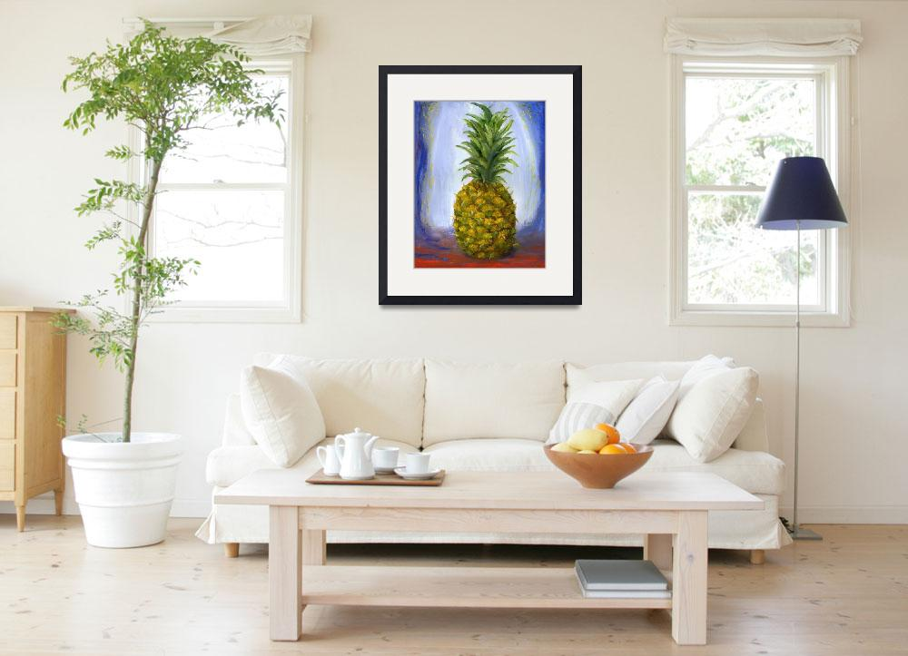 """Impressionist Pineapple Art; Fruit Still Life&quot  (2004) by Lenora"