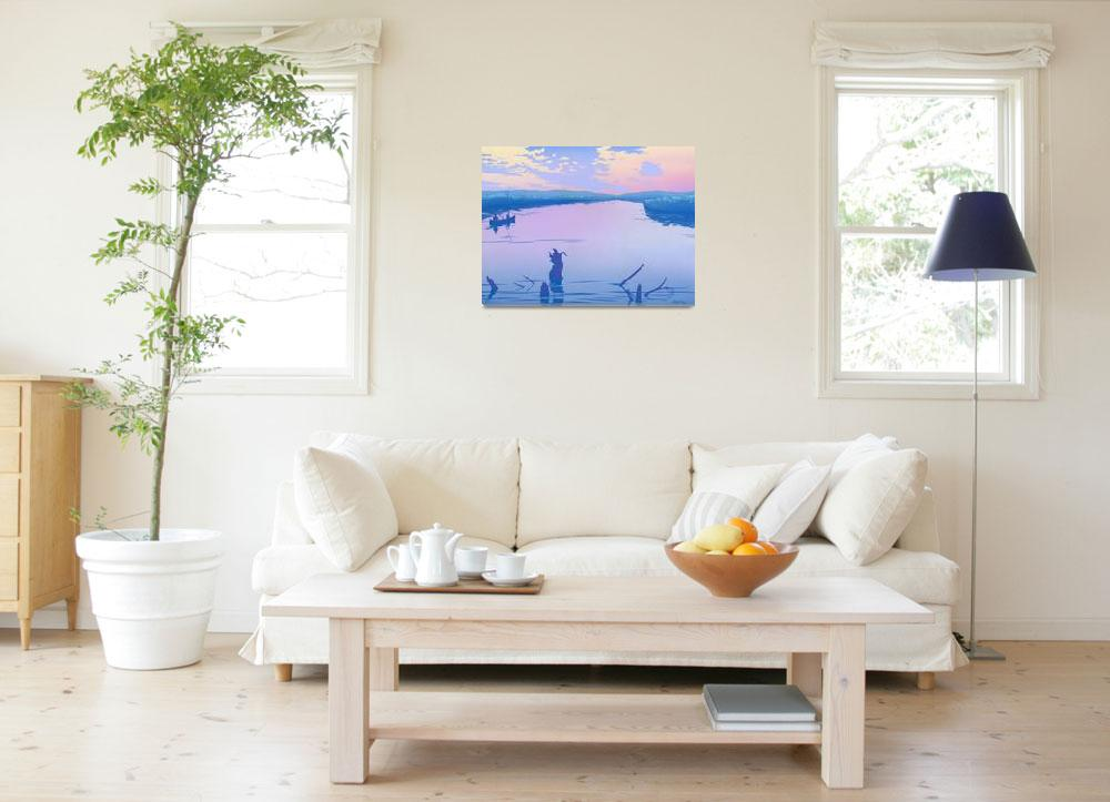 """canoeing river sunset Abstract retro pop art&quot  (1986) by walt-curlee"