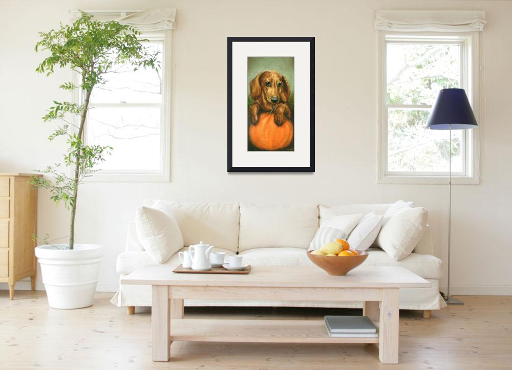 """Pick Me! Dachshund Puppy and a pumpkin by Violano&quot  (2011) by stella"