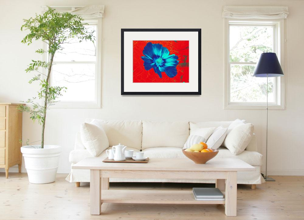 """Bright blue flower on red&quot  (2015) by MagdavanderKleij"