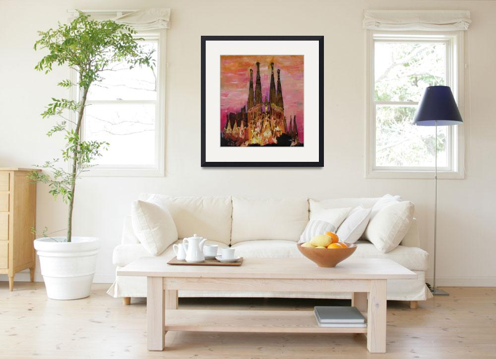 """Barcelona With Sagrada Familia And Vanilla Sky&quot  (2013) by arthop77"