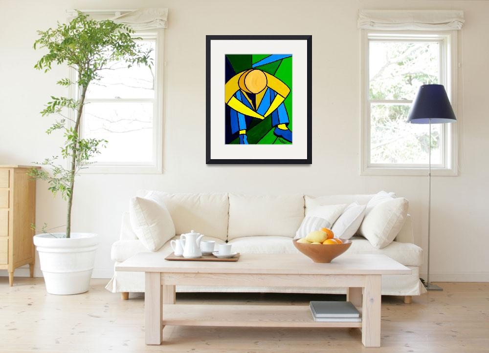 """""Man in Blue Green and Yellow"" orignal acrylic pai&quot  (2008) by marnold"
