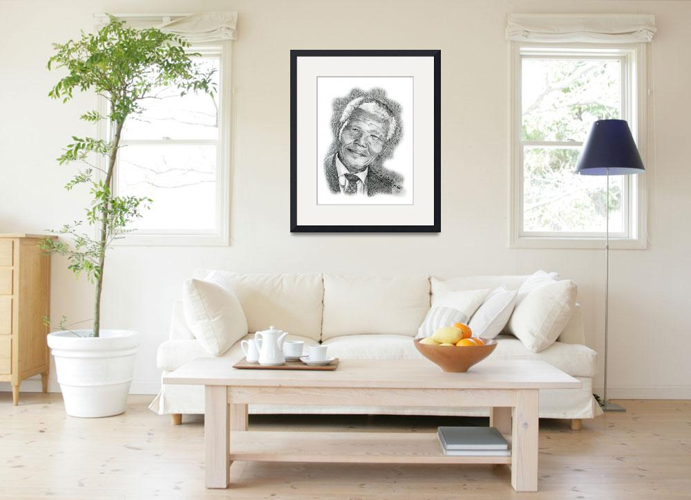 """Hand Drawn Portrait of Nelson Mandela&quot  by CreativeArtisticNuance"