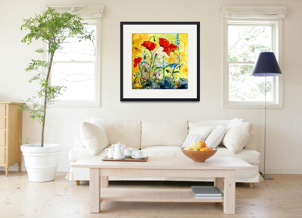 """Poppies Provencale Contemporary Decor Mixed Media&quot  (2012) by GinetteCallaway"