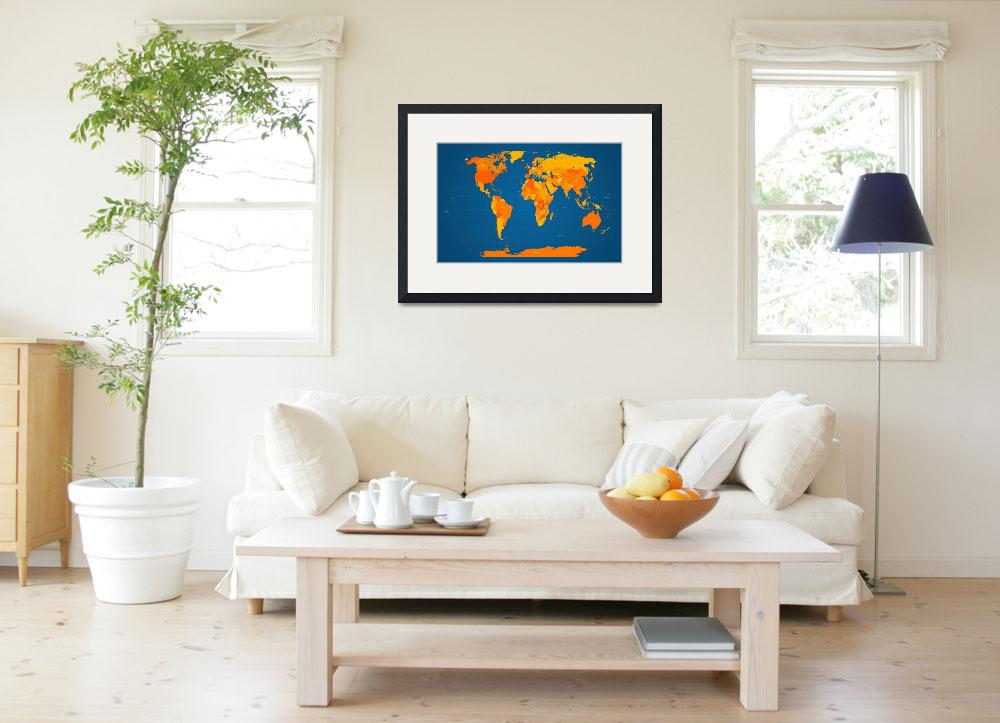 """World Map in Orange and Blue&quot  (2011) by ModernArtPrints"