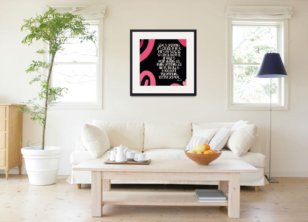 """LOVE IS EVERYTHING - PINK & BLACK SWIRL - ERICA JO&quot  (2010) by lisaweedn"