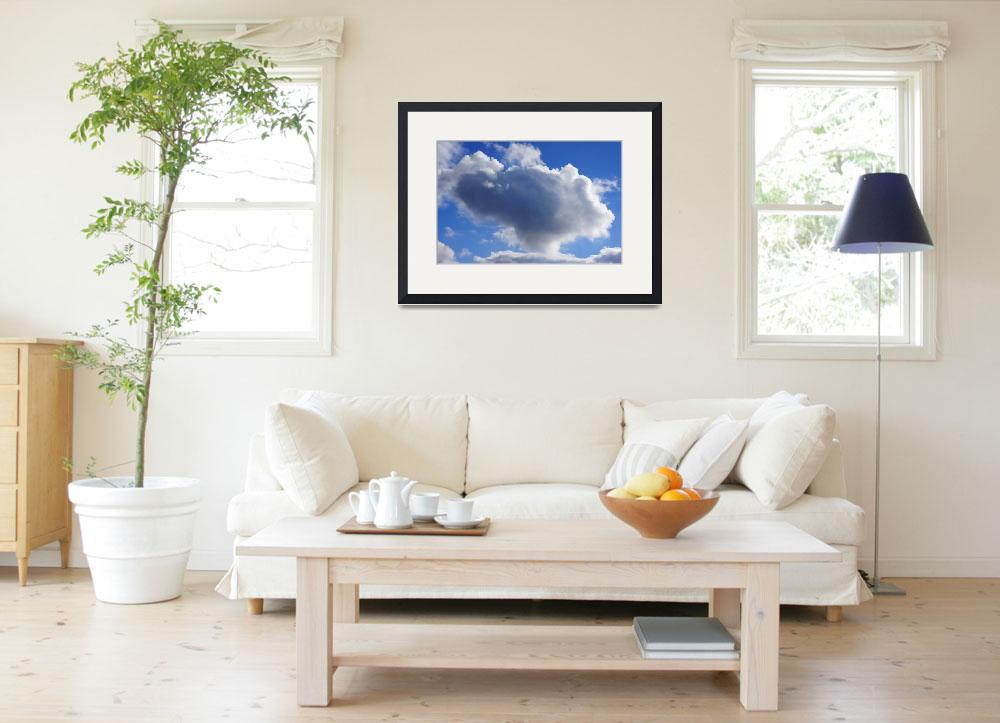 """Blue Sky Puffy White Clouds Skies Art Prints Weath&quot  (2014) by BasleeTroutman"
