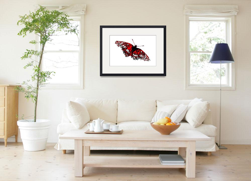 """Butterfly - Black White And Red Series&quot  (2013) by bettynorthcutt"