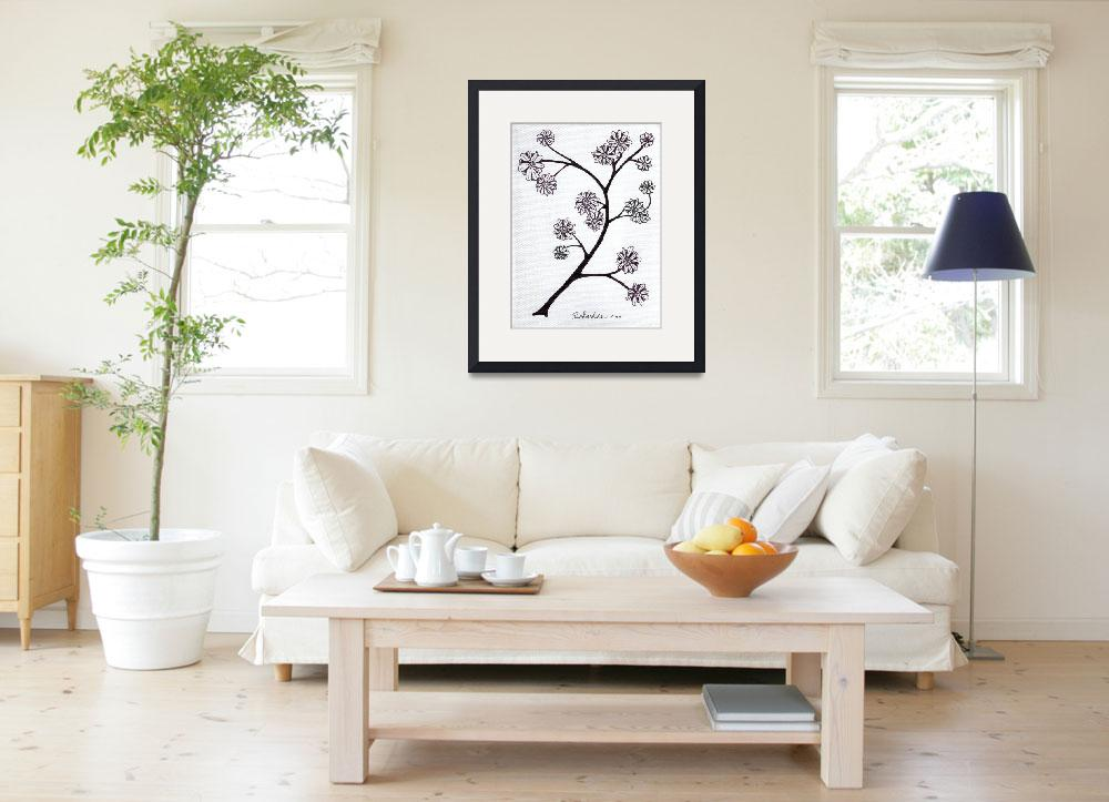 """Zen Sumi Flower Branch Black Ink on White Canvas&quot  (2011) by Ricardos"