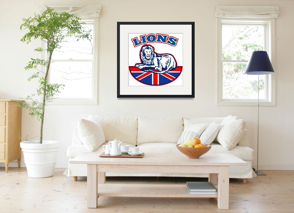 """Lion sitting GB British union jack flag&quot  (2013) by patrimonio"