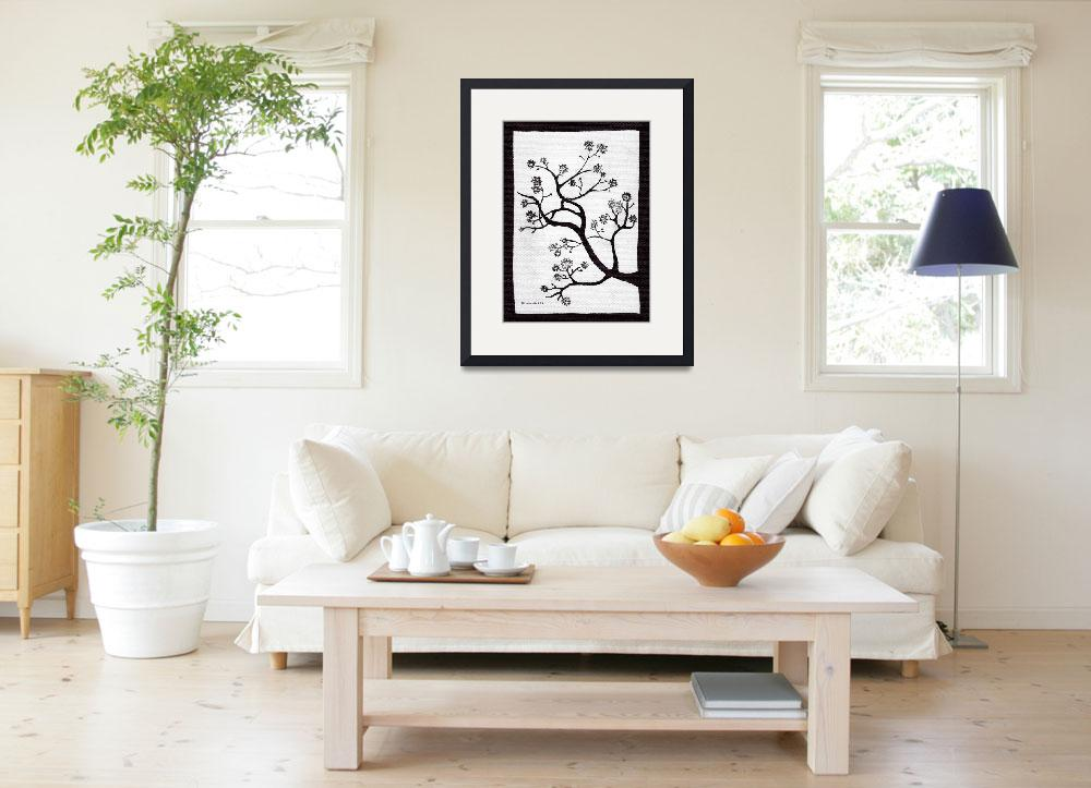 """Zen Sumi Bush Black Ink on White Canvas&quot  (2011) by Ricardos"