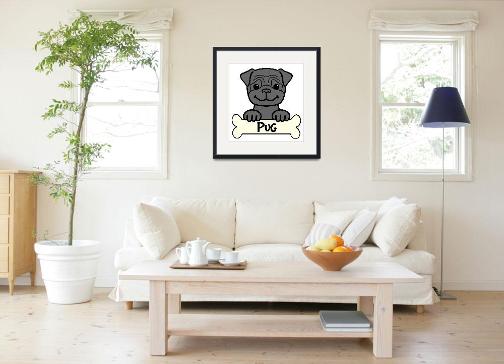"""Black Pug Cartoon&quot  (2010) by AnitaValle"