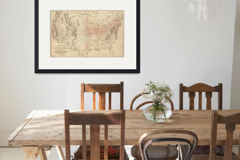 """Vintage United States Railroad Map (1886)&quot  by Alleycatshirts"