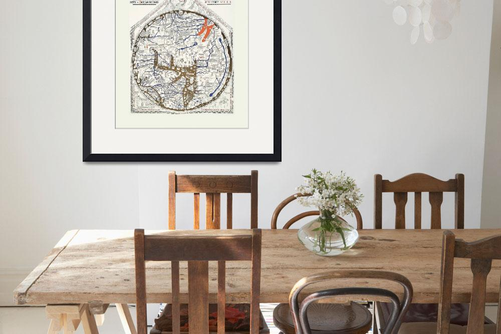 """Hereford Mappa Mundi Latin Text Lrg White Border U&quot  (2014) by TheNorthernTerritory"