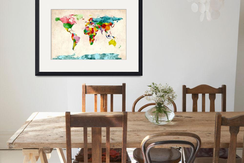 """World Map Watercolors&quot  (2011) by ModernArtPrints"