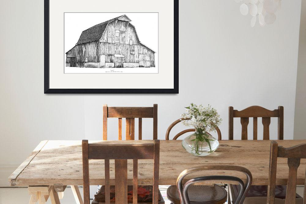 """Pen and Ink Stippled Barn drawing&quot  (1997) by DulceDiane"