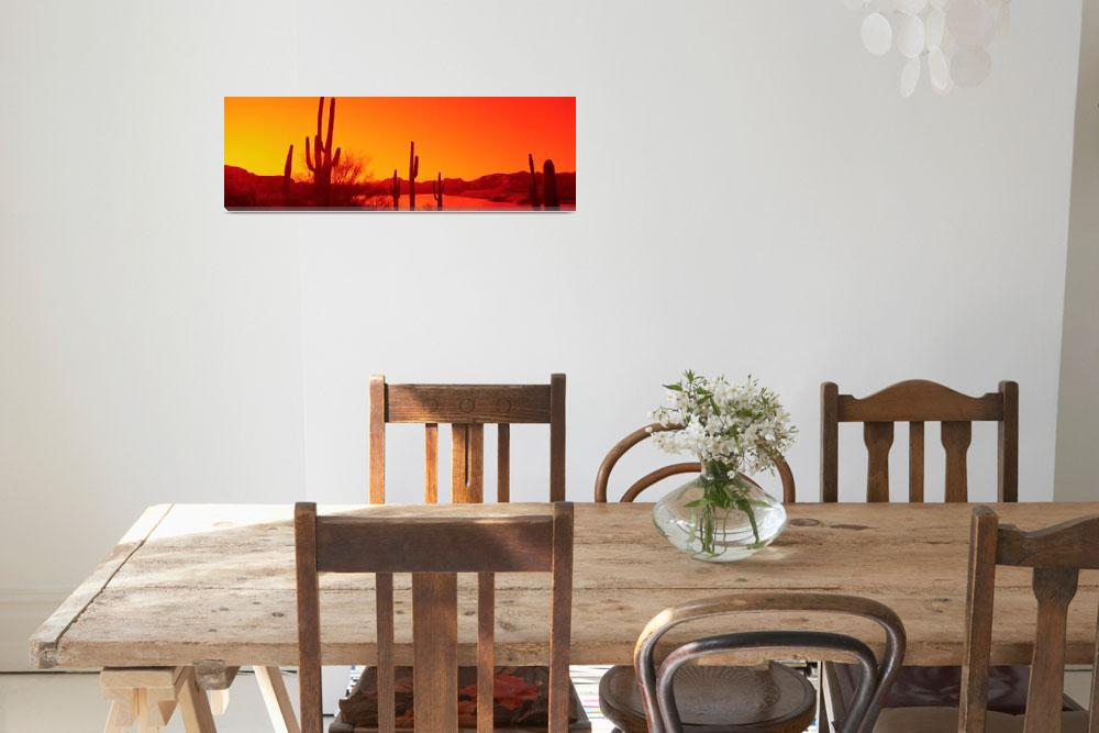 """Silhouette of Saguaro cacti at sunrise&quot  by Panoramic_Images"