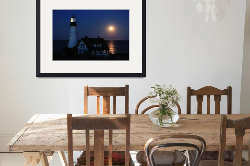 """Moonrise over Portland Headlight&quot  (2012) by crazysuncompany"