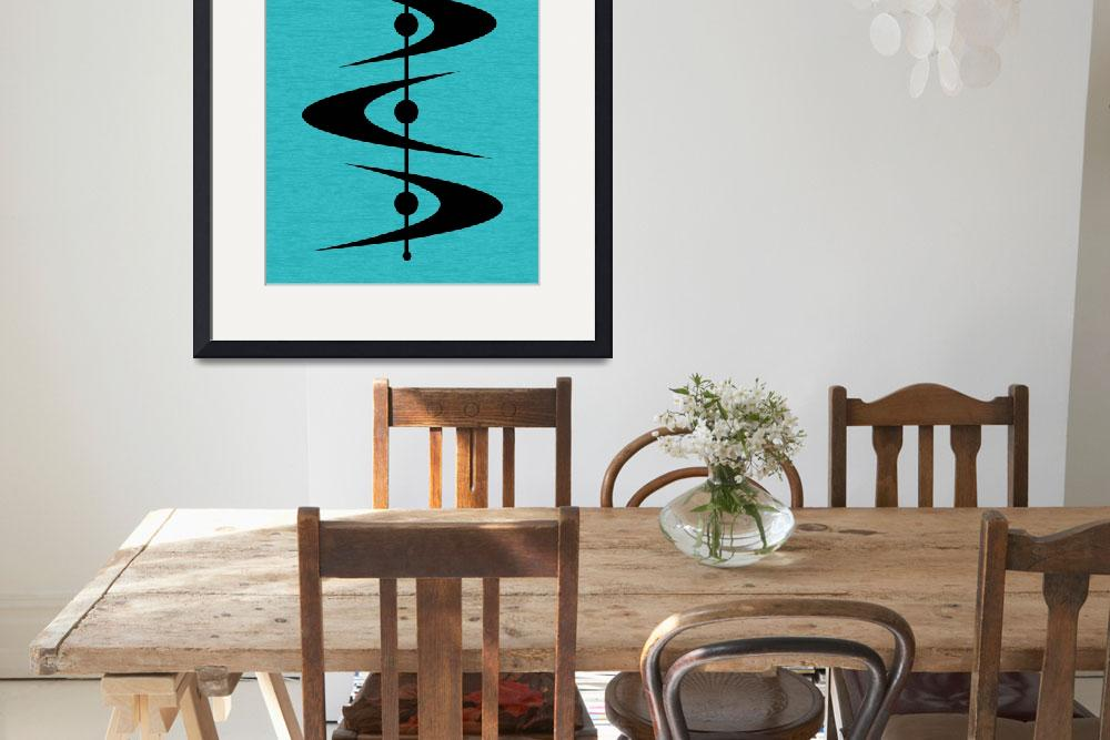 """Mid Century Shapes 3 on Turquoise&quot  by DMibus"