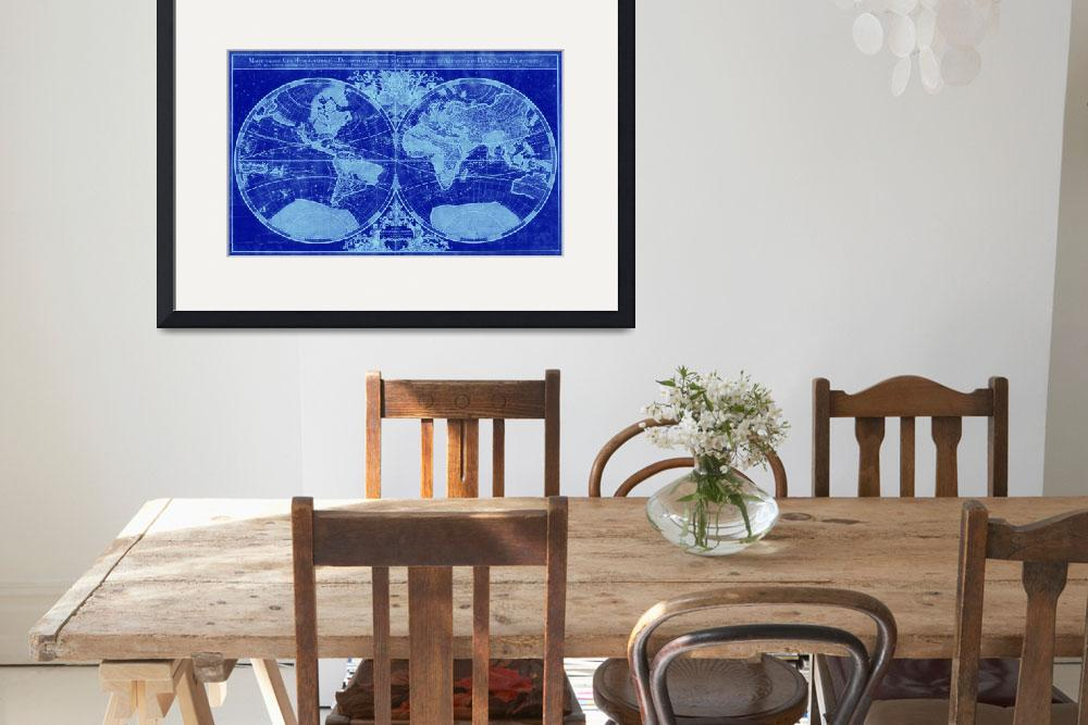 """World Map (1691) Blue & Light Blue&quot  by Alleycatshirts"