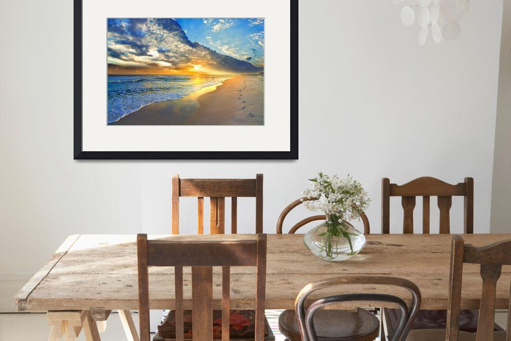 """Gold Sunset Beach Waves Seascape Fine Art Prints&quot  (2013) by eszra"