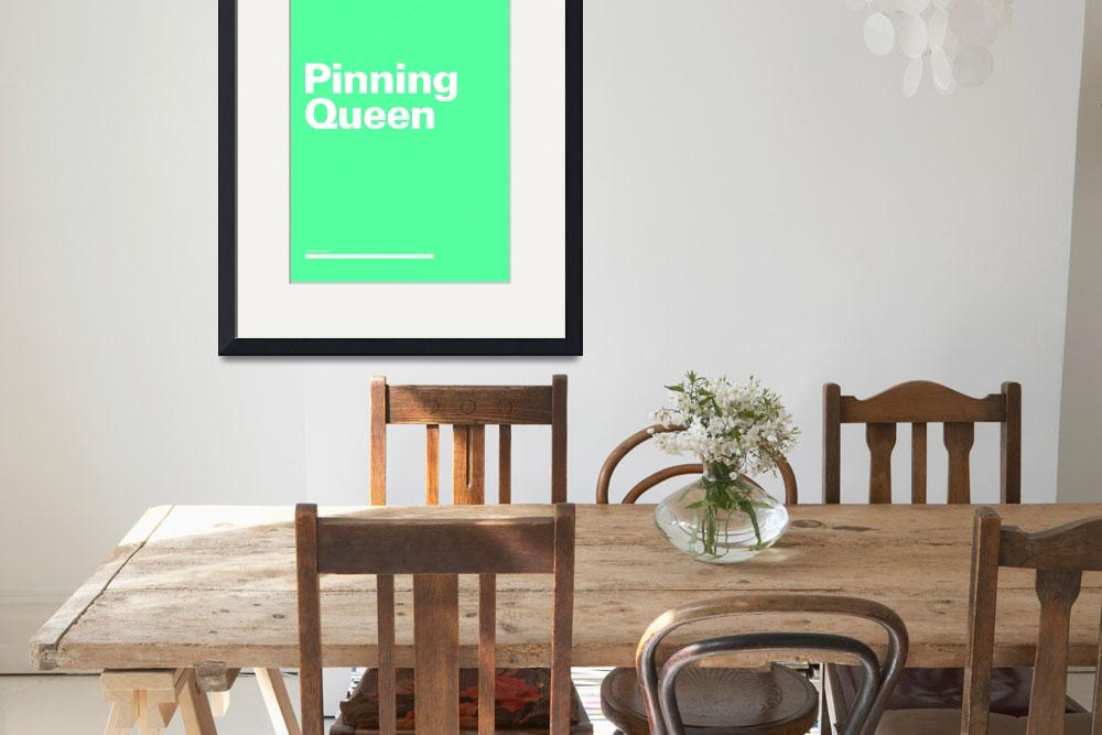 """Pinning Queen typographic poster - Teal and White&quot  (2012) by kken"