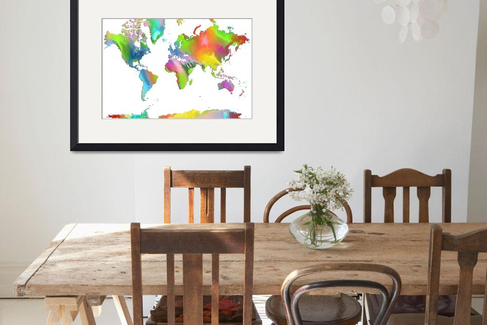 """World Map multicolor&quot  by MarleneWatson"