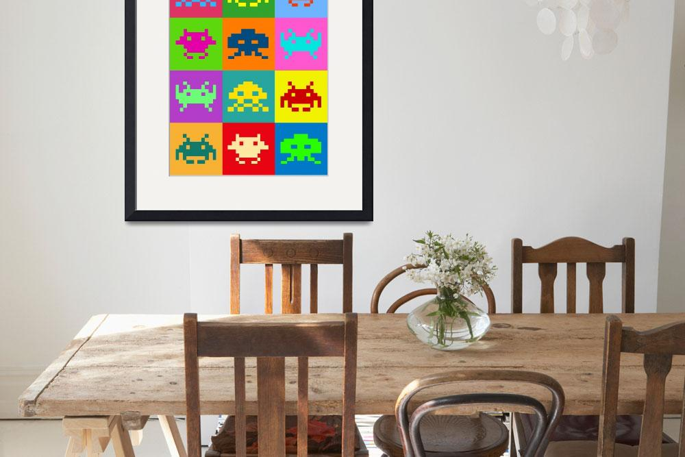 """Space Invaders Squares&quot  (2010) by ModernArtPrints"