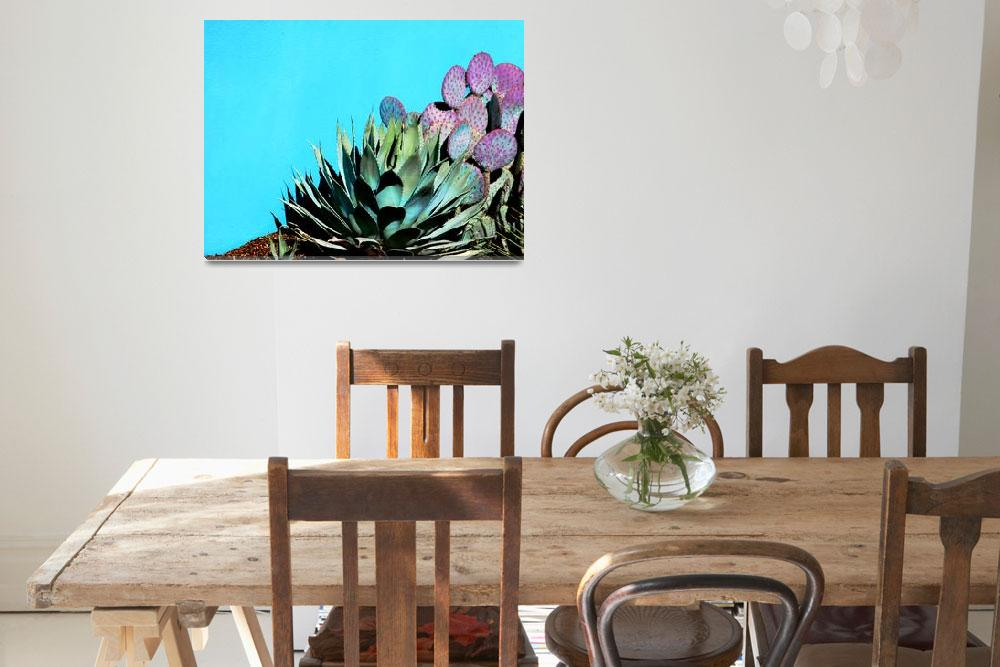 """Agave and Prickly Pear on Turquiose Wall P1030484&quot  (2016) by almarphotography"