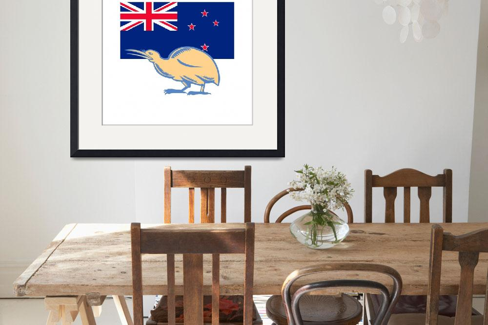 """Kiwi Bird NZ Flag Woodcut&quot  (2015) by patrimonio"