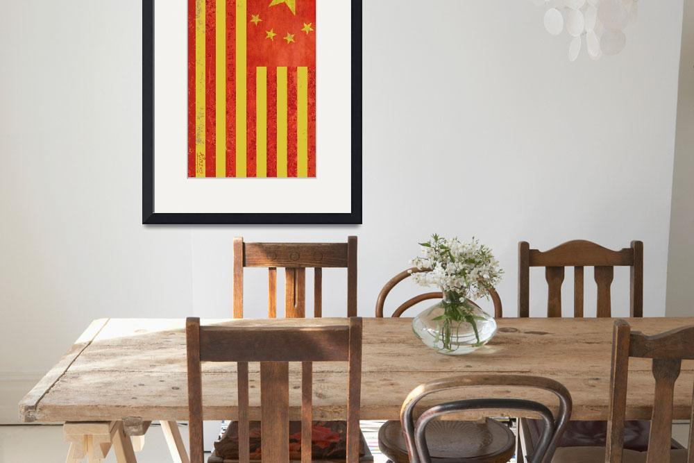 """Chinese American Flag Vertical&quot  by RubinoFineArt"