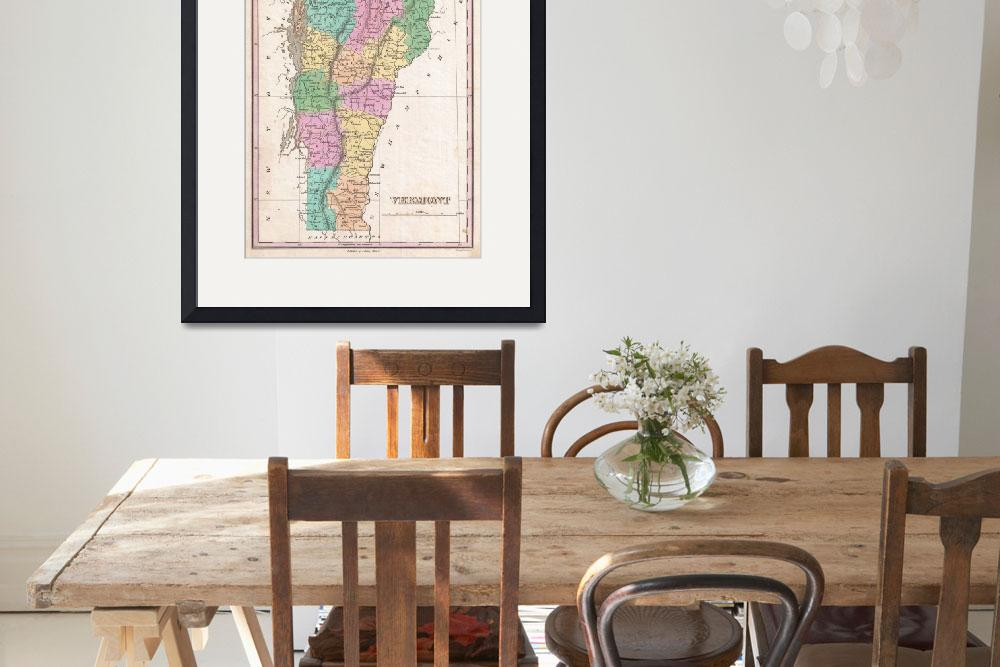 """Vintage Map of Vermont (1827)&quot  by Alleycatshirts"