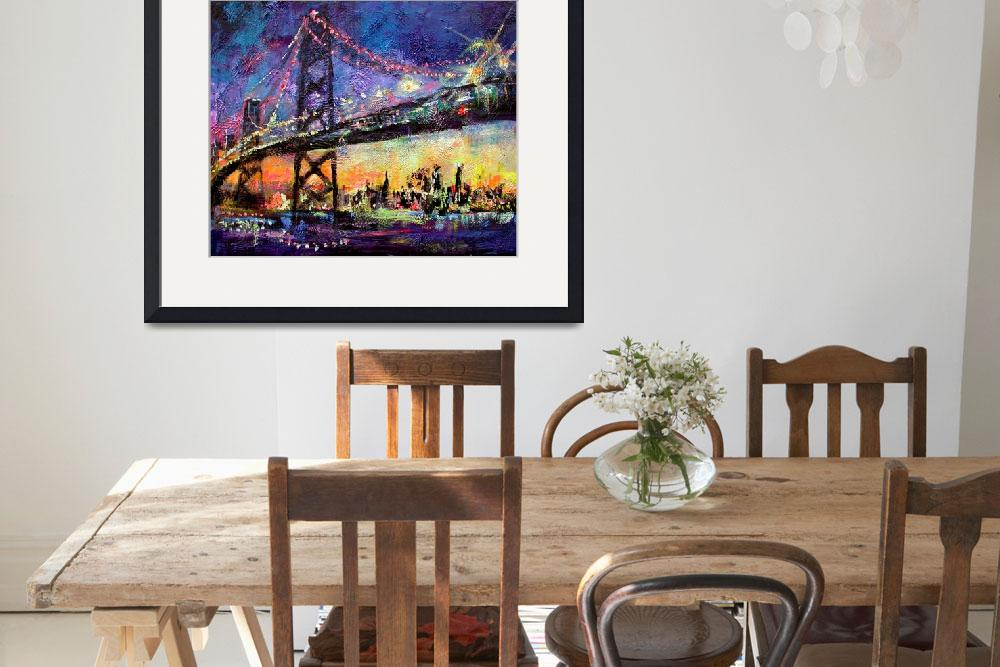 """City Night & Bridge From Original Painting by Gine&quot  (2003) by GinetteCallaway"