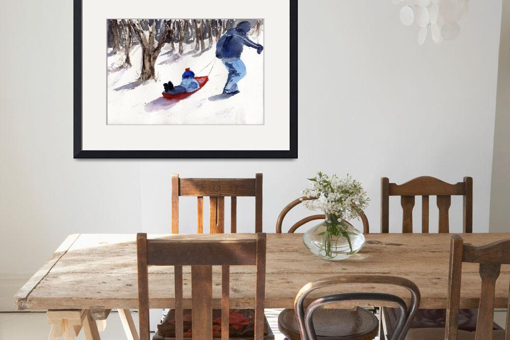 """Sledding Snow Scene, father and son&quot  (2013) by schulmanart"