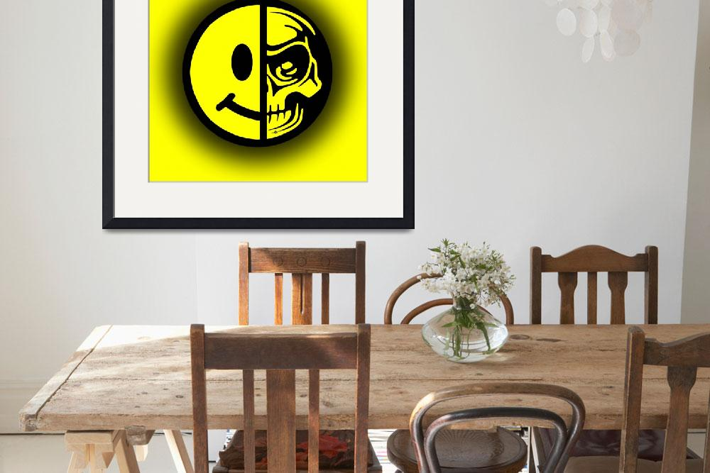 """Smiley Face Skull Yellow Shadow&quot  (2015) by RubinoFineArt"