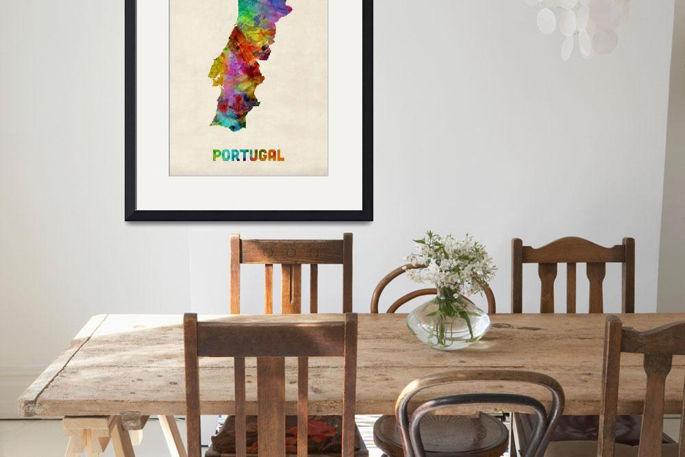 """Portugal Watercolor Map&quot  by ModernArtPrints"