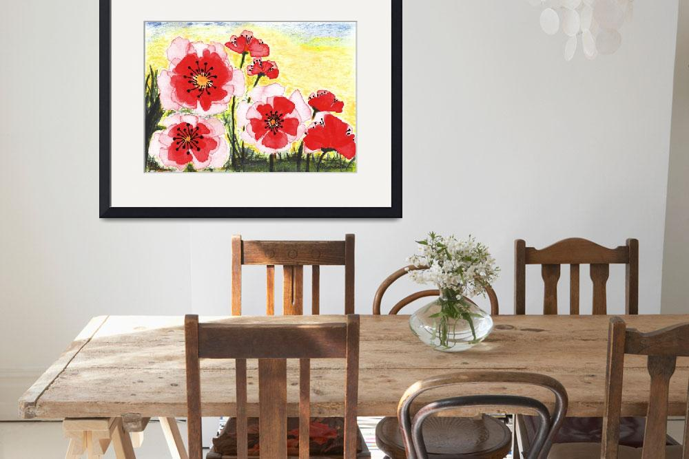 """Original Expressive Wild Red and Pink Poppy Field&quot  (2014) by Ricardos"