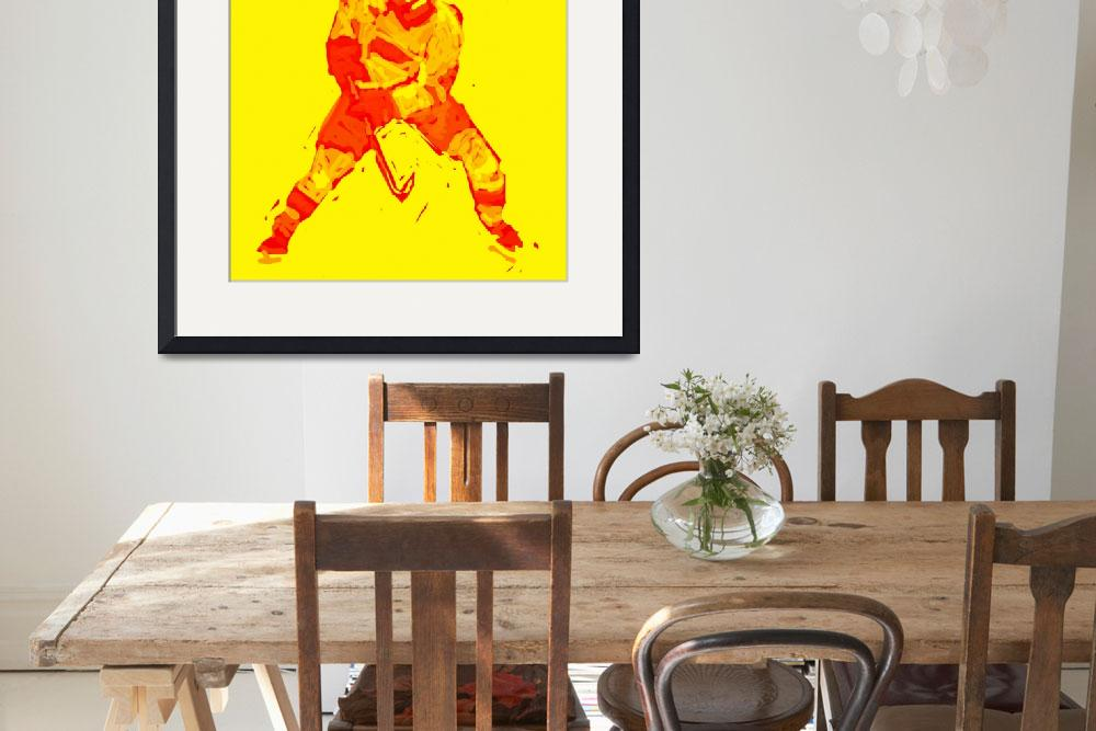 """Hockey Defenseman yellow red (c)&quot  (2014) by edmarion"