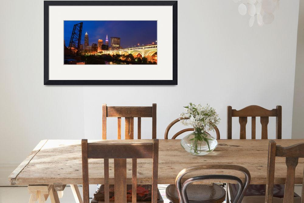 """Cleveland Skyline from the Flats at Sunset Panoram&quot  by cyorkphoto"