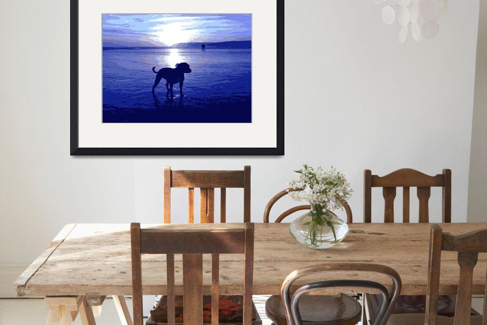 """Staffordshire Bull Terrier on Beach in Blue&quot  (2008) by ModernArtPrints"