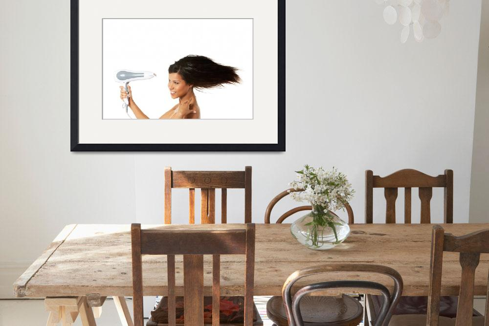 """Woman with long hair holding strong blow dryer&quot  by Piotr_Marcinski"