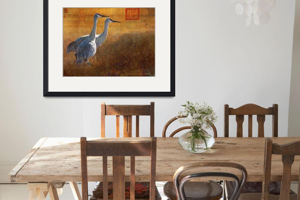 """sunset in the marsh / sandhill cranes&quot  (2010) by rchristophervest"