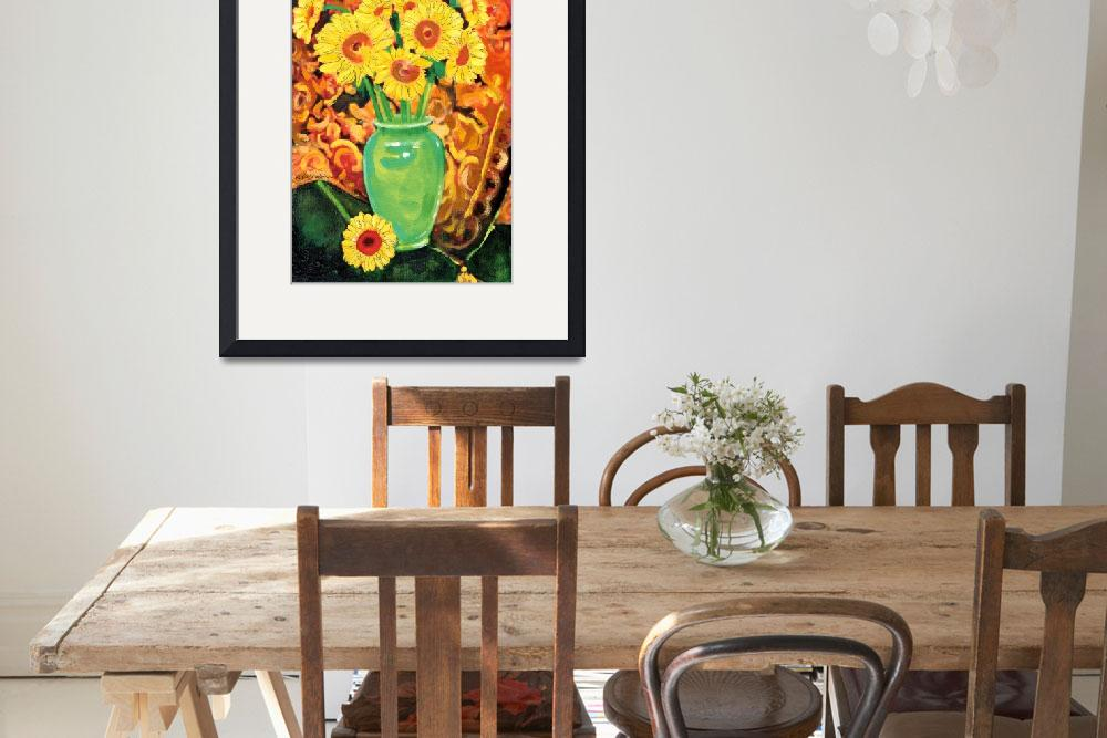 """Sunflowers In A Green Vase&quot  (2012) by RDRiccoboni"