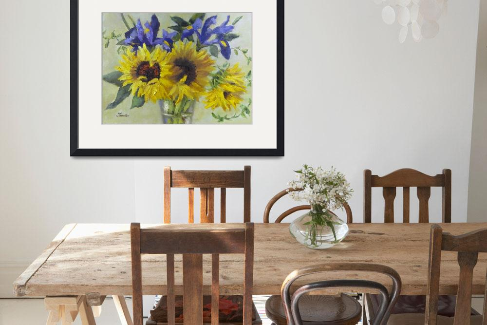 """Sunflowers and Irises&quot  by Fiorello"