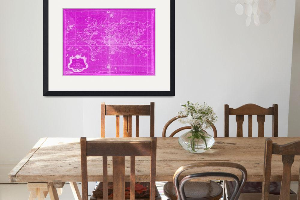 """World Map (1778) Pink & White&quot  by Alleycatshirts"