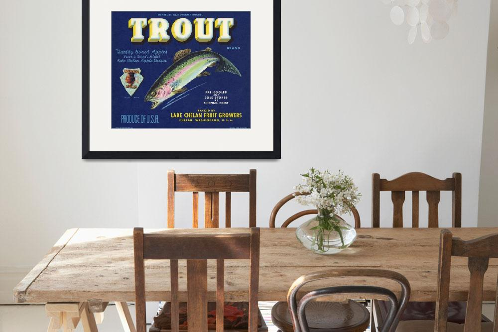 """Trout Fish Apple Crate Label&quot  (1940) by LABELSTONE"