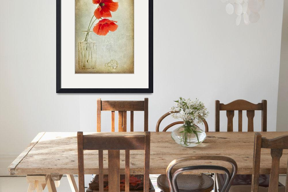 """Two Poppies in a Glass Vase&quot  (2011) by AnnG"