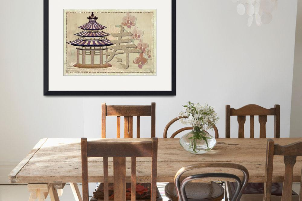 """Pagoda Rose Oriental Mixed Media&quot  (2013) by ReneeLozenGraphics"